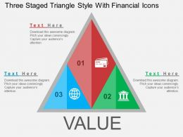Three Staged Triangle Style With Financial Icons Flat Powerpoint Design
