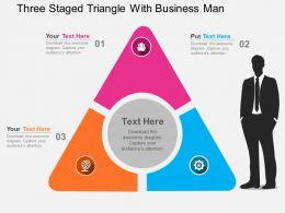Three Staged Triangle With Business Man Flat Powerpoint Design