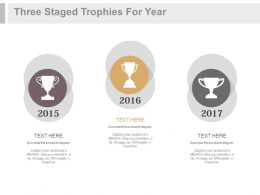 Three Staged Trophies For Year Based Success Records Powerpoint Slides