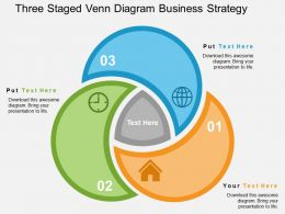 Three Staged Venn Diagram Business Strategy Flat Powerpoint Design
