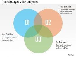 Three Staged Venn Diagram Flat Powerpoint Design