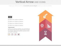 Three Staged Vertical Arrow And Icons Flat Powerpoint Design