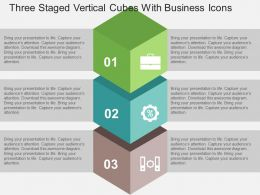 Three Staged Vertical Cubes With Business Icons Flat Powerpoint Design