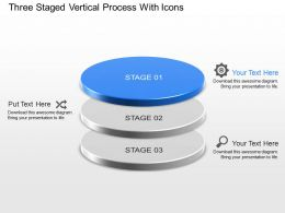 Three Staged Vertical Process With Icons Powerpoint Template Slide