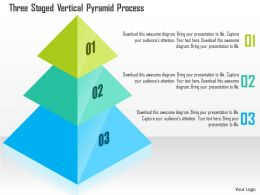 Three Staged Vertical Pyramid Process Powerpoint Templates