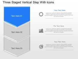 Three Staged Vertical Step With Icons Powerpoint Template Slide