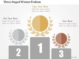 Three Staged Winner Podium Flat Powerpoint Design