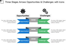 Three Stages Arrows Opportunities And Challenges With Icons