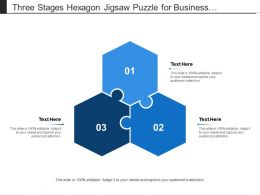 Three Stages Hexagon Jigsaw Puzzle For Business Presentation