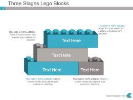 Three Stages Lego Blocks Presentation Ppt Slides
