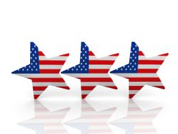 Three Stars With Flag Of America Stock Photo