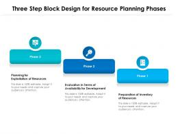 Three Step Block Design For Resource Planning Phases