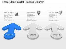 Three Step Parallel Process Diagram Powerpoint Template Slide