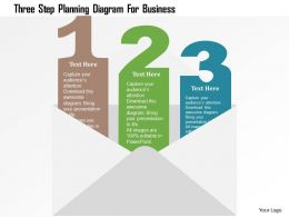 Three Step Planning Diagram For Business Flat Powerpoint Design