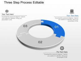 Three Step Process Editable Powerpoint Template Slide