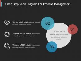 Three Step Venn Diagram For Process Management Ppt Slide Styles