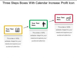 Three Steps Boxes With Calendar Increase Profit Icon