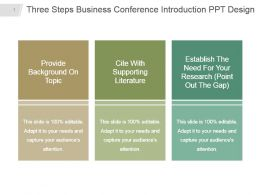 Three Steps Business Conference Introduction Ppt Design