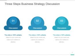 Three Steps Business Strategy Discussion Presentation Template Slides