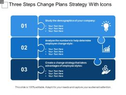 Three Steps Change Plans Strategy With Icons