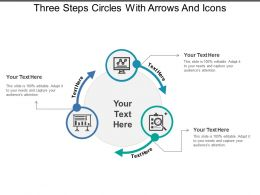 three steps circles with arrows and icons