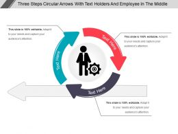 Three Steps Circular Arrows With Text Holders And Employee In The Middle