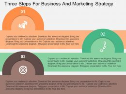 Three Steps For Business And Marketing Strategy Flat Powerpoint Design
