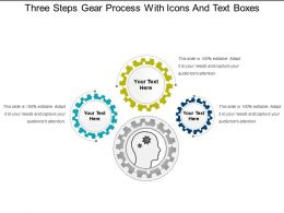 Three Steps Gear Process With Icons And Text Boxes