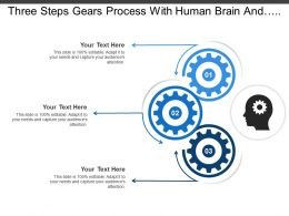 Three Steps Gears Process With Human Brain And Text Boxes
