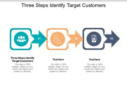 Three Steps Identify Target Customers Ppt Powerpoint Presentation Pictures Information Cpb