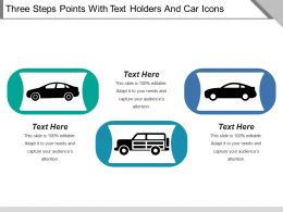 Three Steps Points With Text Holders And Car Icons