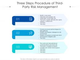 Three Steps Procedure Of Third Party Risk Management