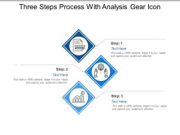 Three Steps Process With Analysis Gear Icon