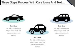 Three Steps Process With Cars Icons And Text Boxes