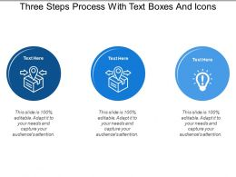 Three Steps Process With Text Boxes And Icons