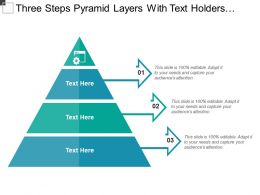 Three Steps Pyramid Layers With Text Holders And Icons