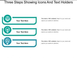 Three Steps Showing Icons And Text Holders