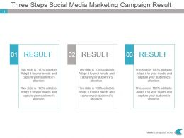 Three Steps Social Media Marketing Campaign Result Ppt Slide