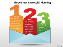 three steps successful planning powerpoint templates graphics slides 0712