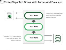 Three Steps Text Boxes With Arrows And Data Icon