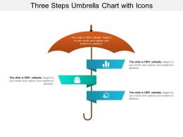 Three Steps Umbrella Chart With Icons