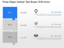 Three Steps Vertical Text Boxes With Icons Powerpoint Template Slide