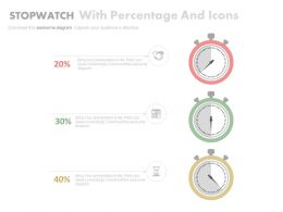 Three Stopwatches With Percentage And Icons Powerpoint Slides