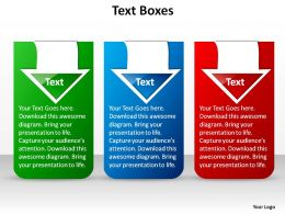 three stylish text boxes blue green red with arrows ppt slides presentation diagrams templates powerpoint info graphics