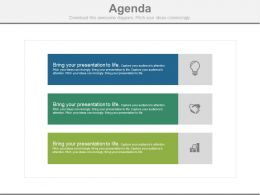 Three Tags And Icons For Business Agenda Powerpoint Slides