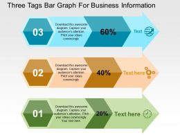 Three Tags Bar Graph For Business Information Flat Powerpoint Design