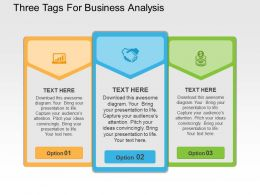 Three Tags For Business Analysis Flat Powerpoint Design