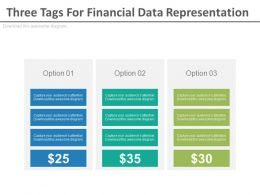 Three Tags For Financial Data Representation Powerpoint Slides