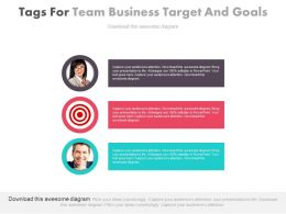 Three Tags For Team Business Target And Goals Powerpoint Slides