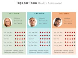 Three Tags For Team Quality Assessment Powerpoint Slides